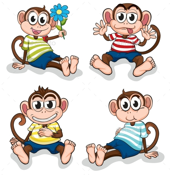 GraphicRiver Monkeys with Different Facial Expressions 9342916