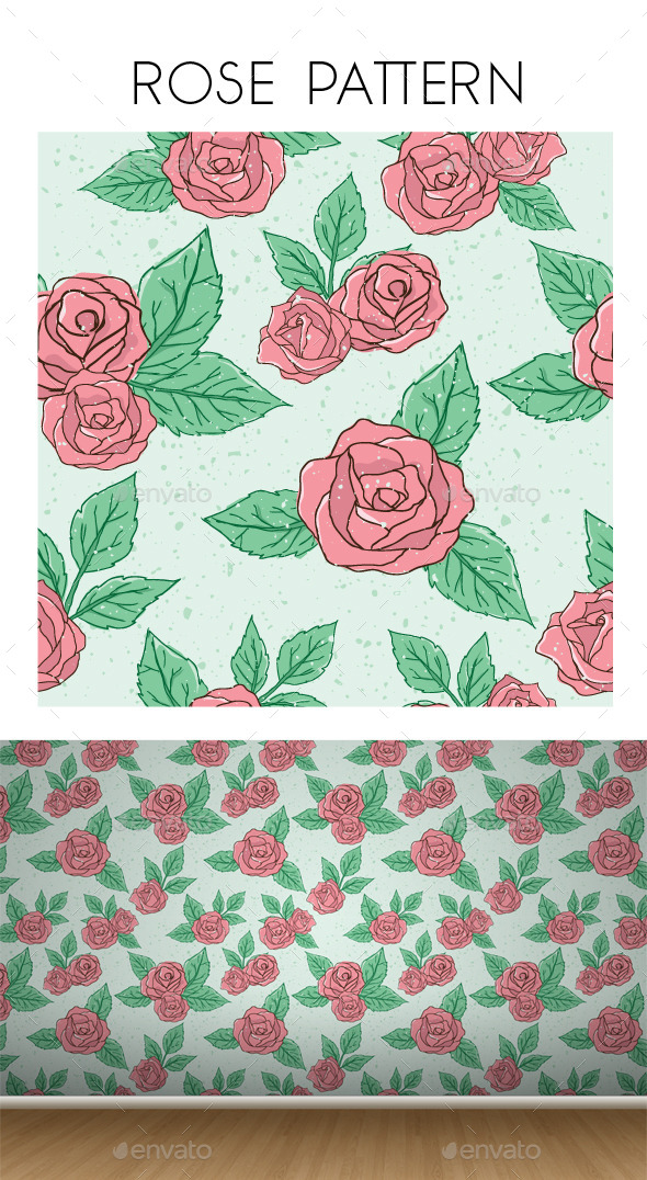 GraphicRiver Vintage Rose Pattern 9343315