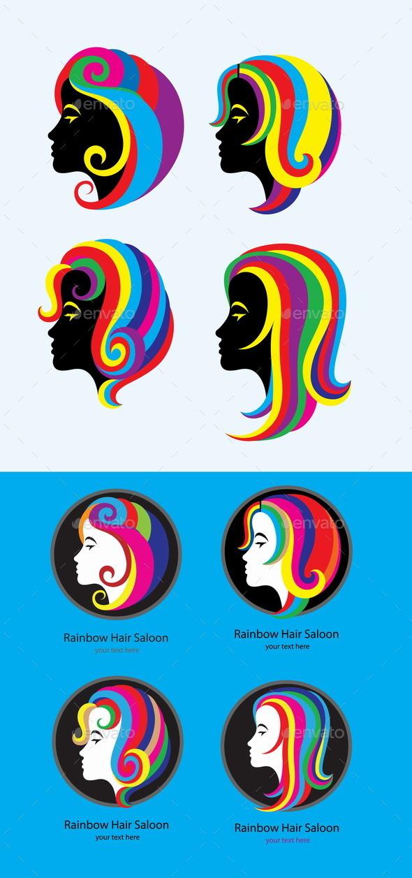 GraphicRiver Hair Rainbow Set 9343317