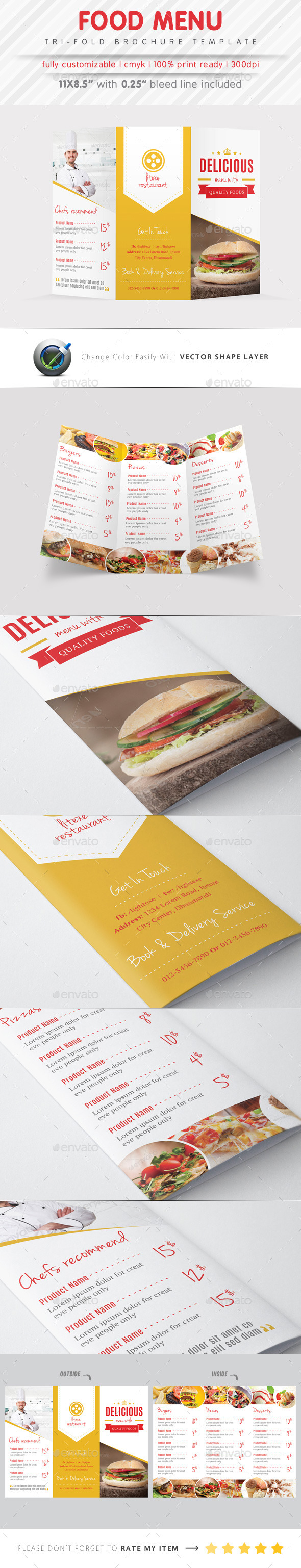 food menu tri fold brochure graphicriver. Black Bedroom Furniture Sets. Home Design Ideas