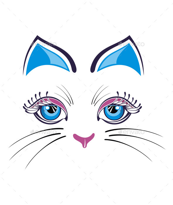 GraphicRiver Cat with Blue Ears 9343684