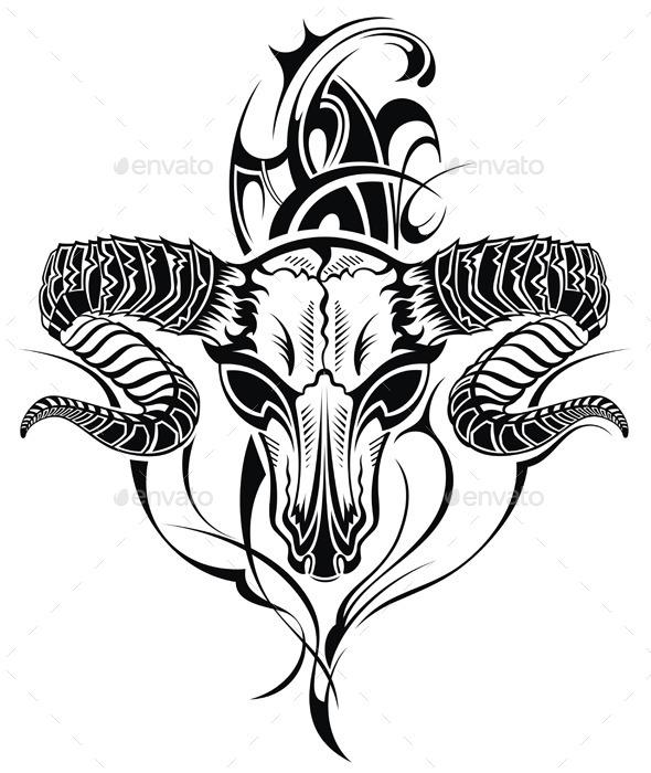 GraphicRiver Tattoo Skull Goat 9343711