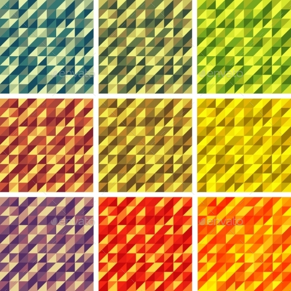 GraphicRiver Set Colorful 9 Bright Geometric Backgrounds 9344310