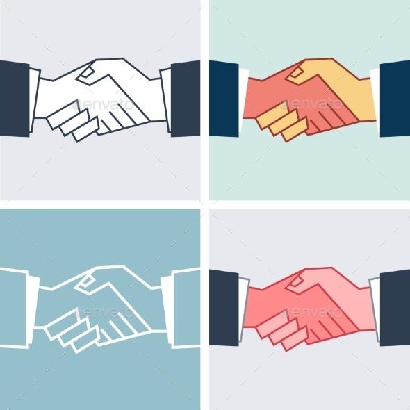 GraphicRiver Flat Handshake Icons 9344369