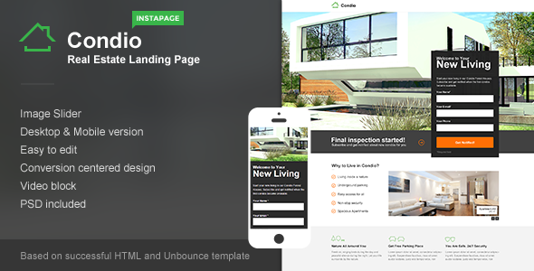 ThemeForest Condio Real Estate Landing Page for Instapage 9320888