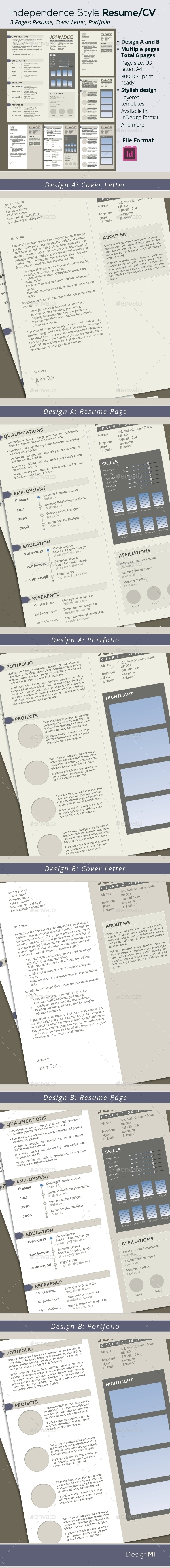 GraphicRiver Independence Style Resume CV 6 Pages 9344670