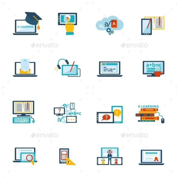 GraphicRiver E-Learning Icon Flat 9344674