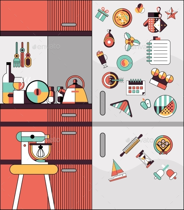 GraphicRiver Kitchen Interior Flat Line 9344678