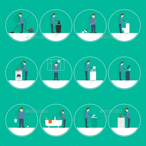 GraphicRiver Cleaning People Flat 9344707