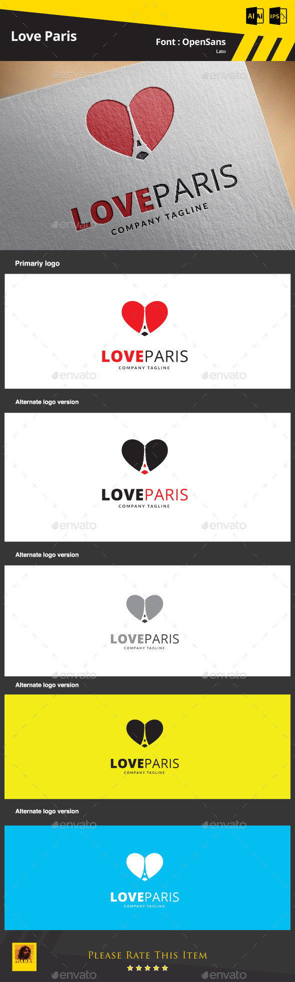 GraphicRiver Love Paris Logo Template 9344712