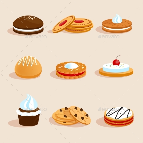 GraphicRiver Cookies Set Isolated 9344714