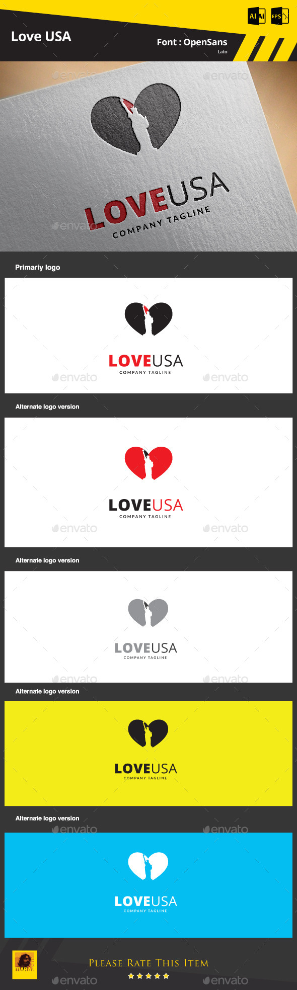 Love USA Logo Template