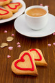 valentine cookies with cup of coffee