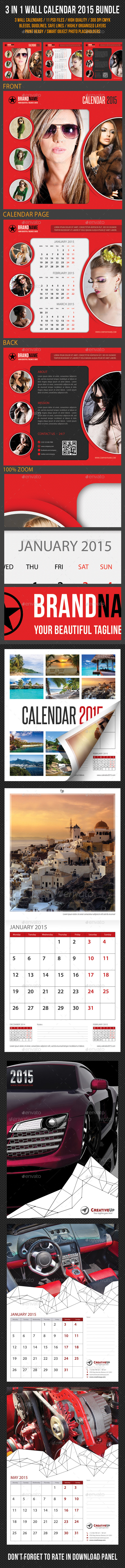 GraphicRiver 3 in 1 Wall Calendar 2015 Bundle 9345001