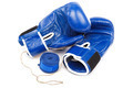 Blue boxing gloves and bandages isolated on a white background. - PhotoDune Item for Sale