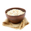 Oatmeal flakes in wooden bowl on white background. Healthy food. - PhotoDune Item for Sale