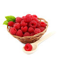 Raspberries in a basket on a white background. - PhotoDune Item for Sale