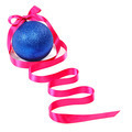 Blue Christmas ball and pink ribbon on a white background. - PhotoDune Item for Sale