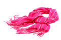 Pink scarf with tassels, on white background. - PhotoDune Item for Sale