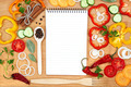 Vegetables, spices and notepad for recipes, on table. - PhotoDune Item for Sale