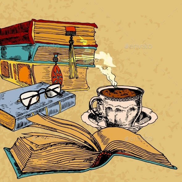GraphicRiver Cup of Coffee and Books 9345306