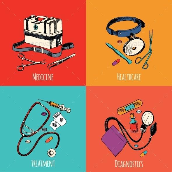 GraphicRiver Medicine Sketch Icons Color Set 9345308