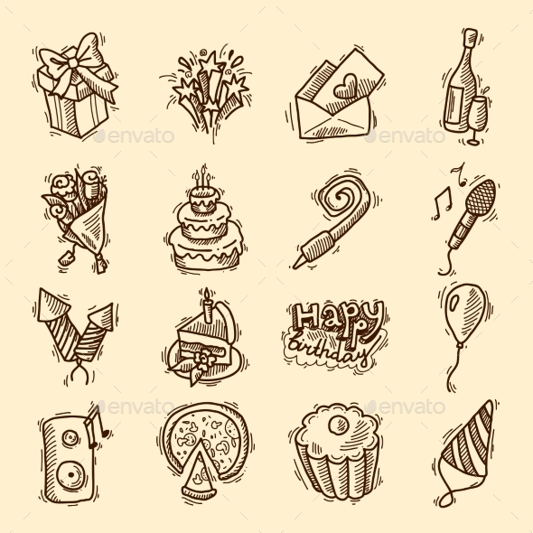 GraphicRiver Birthday Icon Set 9345419