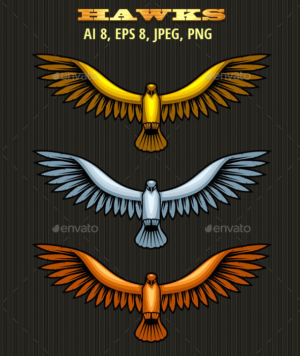 GraphicRiver Golden Silver and Bronze Hawk Figures 9345433