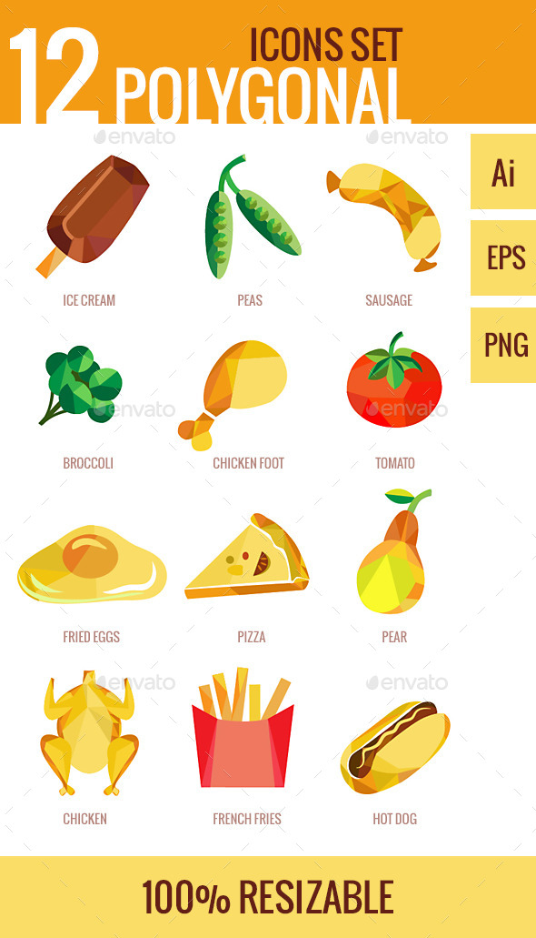 GraphicRiver Set of Polygonal Design Food Icons 9345442