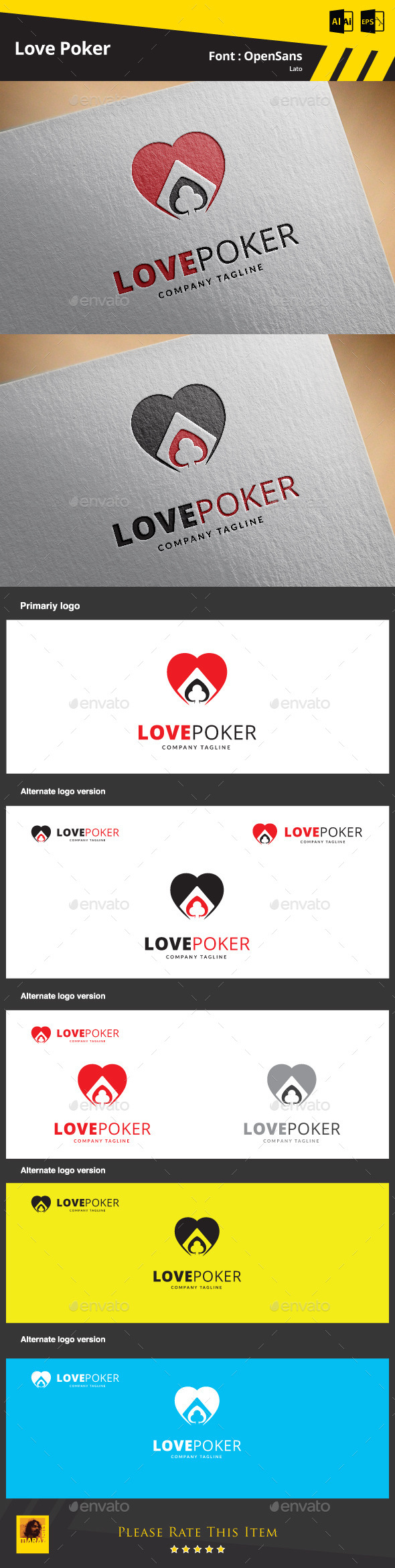 GraphicRiver Love Poker Logo Template 9345476