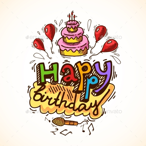 GraphicRiver Birthday Card Sketch 9345485