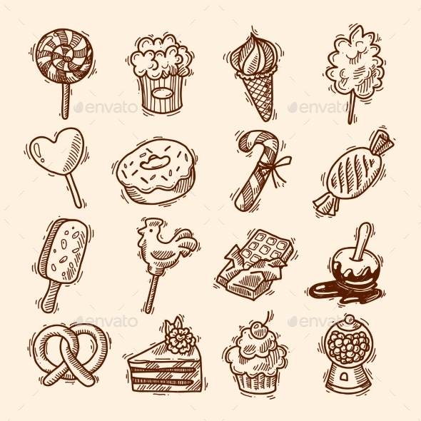 GraphicRiver Sweets Sketch Icon Set 9345491
