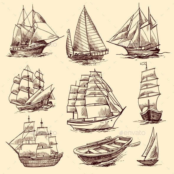 GraphicRiver Ships and Boats Sketch Set 9345499