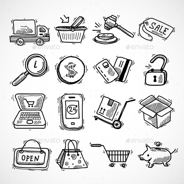 GraphicRiver Shopping E-Commerce Sketch Icons Set 9345573