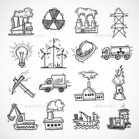 GraphicRiver Industrial Sketch Icon Set 9345577