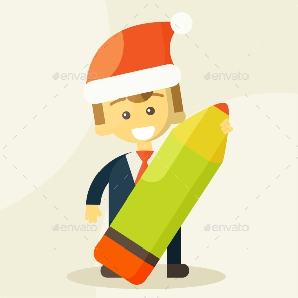 GraphicRiver Businessman Holding a Pencil and Christmas Hat 9345615