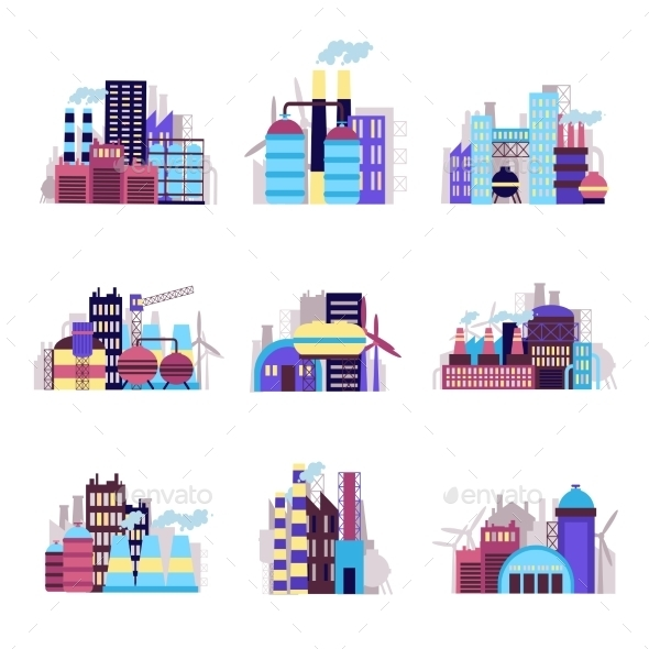 GraphicRiver Industrial Building Icons Set 9345679
