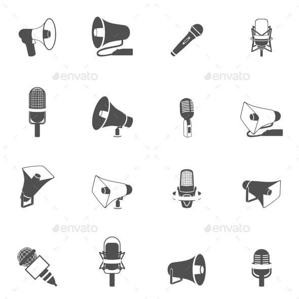GraphicRiver Microphone and Megaphone Icons Black 9345682