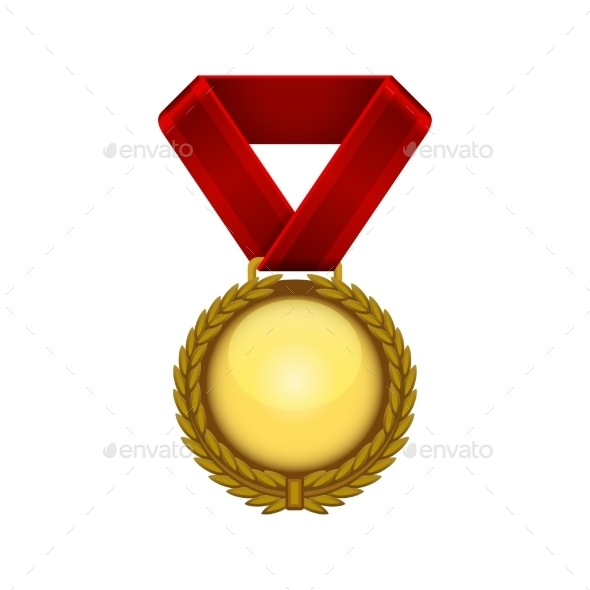 GraphicRiver Champion Gold Medal with Red Ribbon Vector 9345783