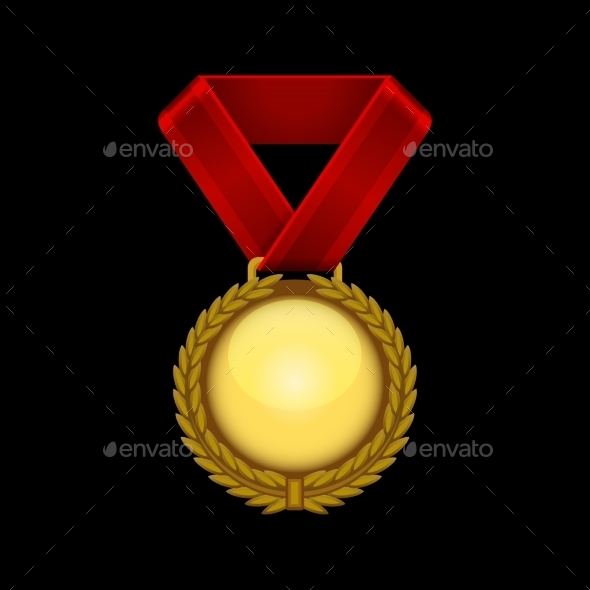 GraphicRiver Champion Gold Medal with Red Ribbon Vector 9345785