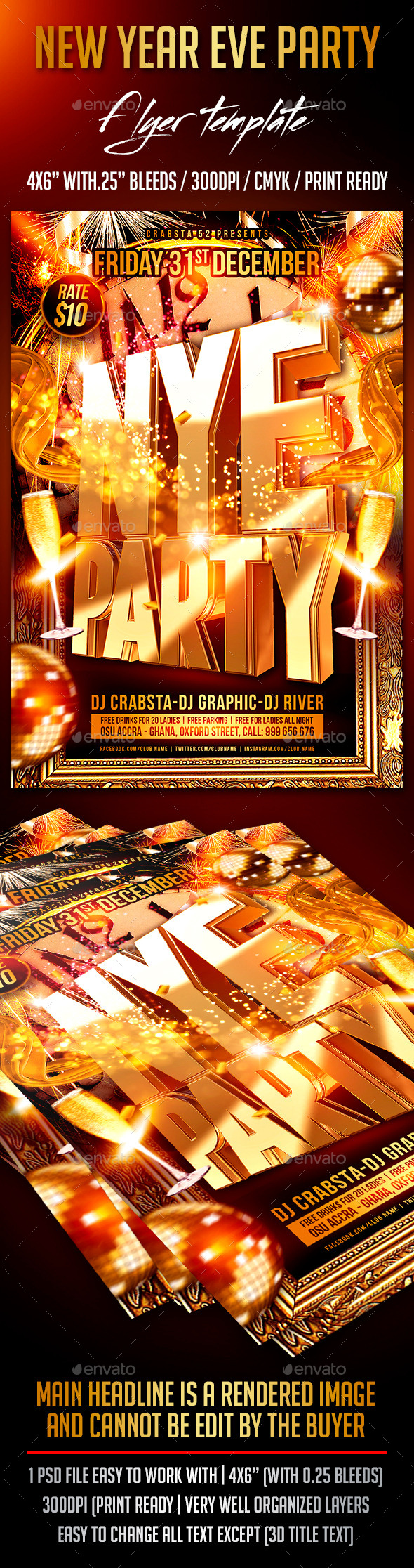 GraphicRiver NYE Party Flyer Template 9345790