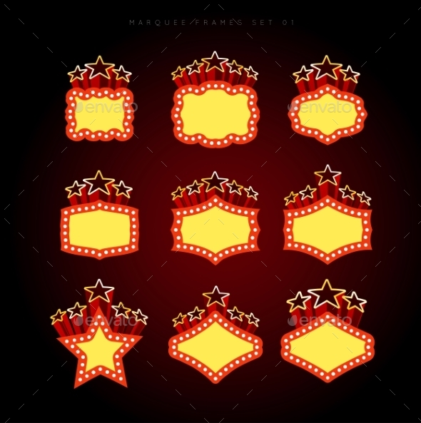 Retro Illuminated Movie Marquee Vector Set