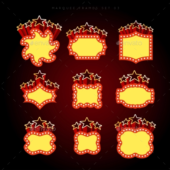 GraphicRiver Retro Illuminated Movie Marquee Vector Set 9345823