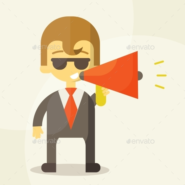 GraphicRiver Young Businessman with a Megaphone 9345831