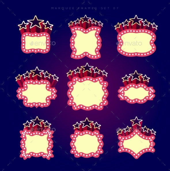 GraphicRiver Retro Illuminated Movie Marquee Vector Set 9345835
