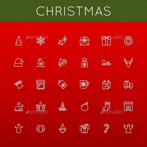 GraphicRiver Vector Christmas Line Icons 9345858