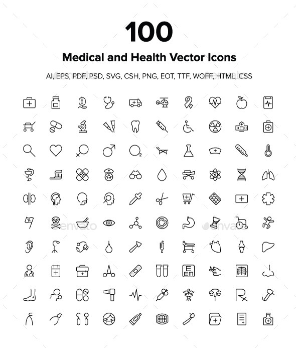 GraphicRiver Medical and Health Vector Icons Pack 9346231