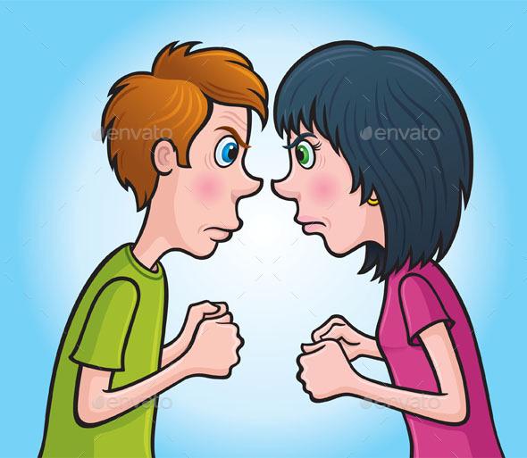 GraphicRiver Angry Teen Boy and Girl 9346265