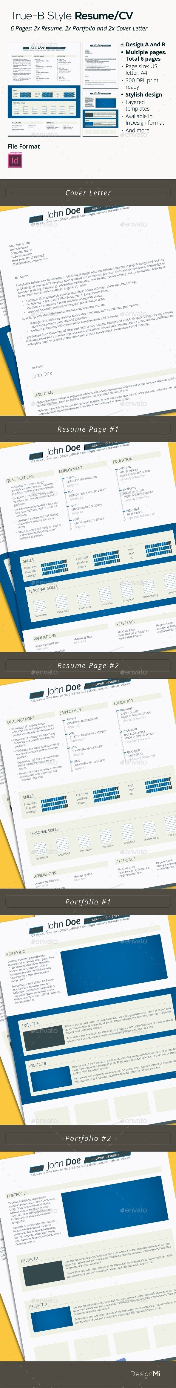 GraphicRiver True B Style Resume CV 6 Pages 9346714
