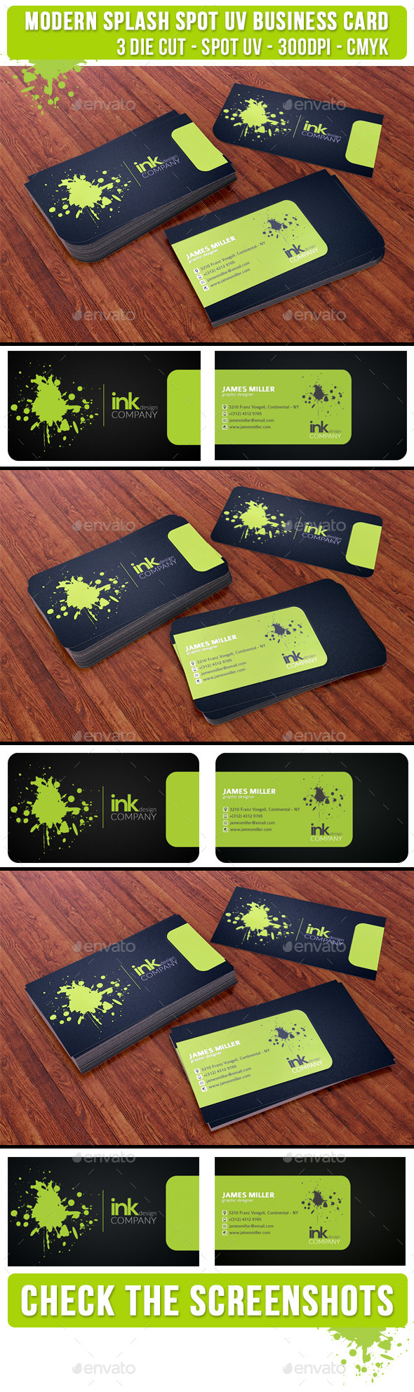 GraphicRiver Splash Ink Spot UV Business Card 3 Cuts 9299727